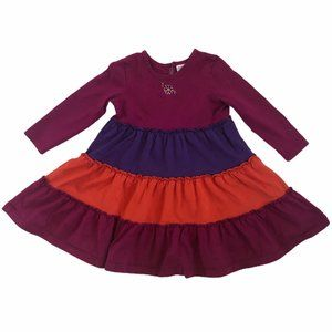 HANNA ANDERSSON TIERED COLORBLOCK TWIRL DRESS 90